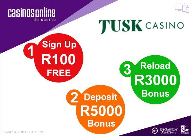 Tusk Casino R100 No Deposit Bonus